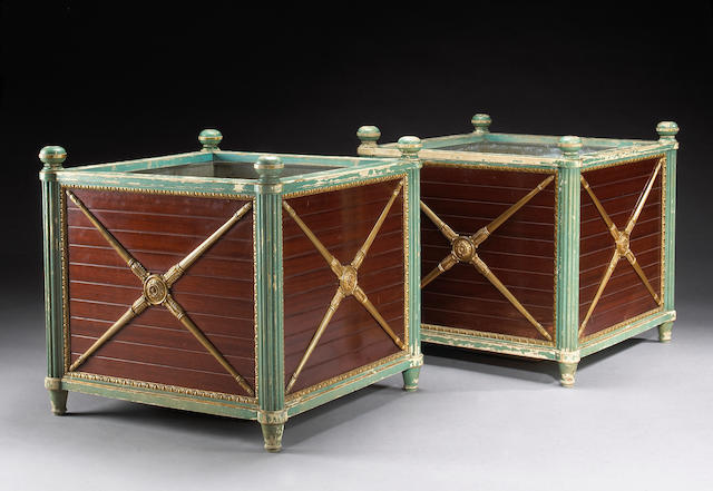 A pair of Louis XVI style gilt metal mounted painted and parcel gilt mahogany jardinières