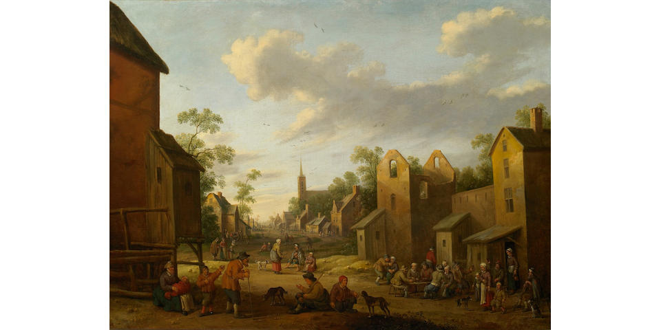 Joost Cornelisz Droochsloot (Dutch 1586-1666) A village scene with numerous figures 30 1/2 x 40 3/4in (77.5 x 103.5cm)