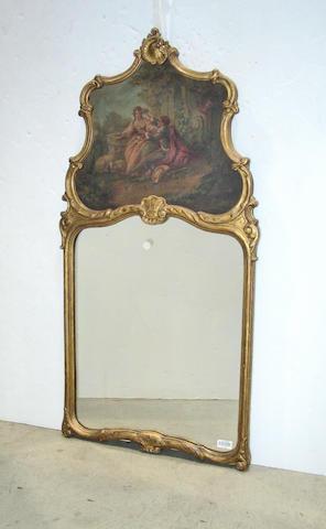 A Louis XV style giltwood trumeau mirror
