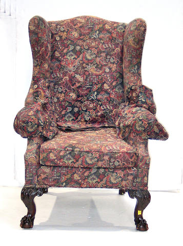 A Chippendale style mahogany wing chair