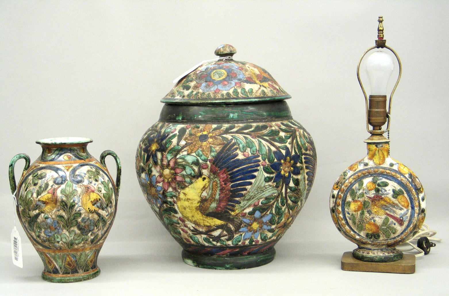 A group of Italian polychrome glazed and sgraffito decorated pottery