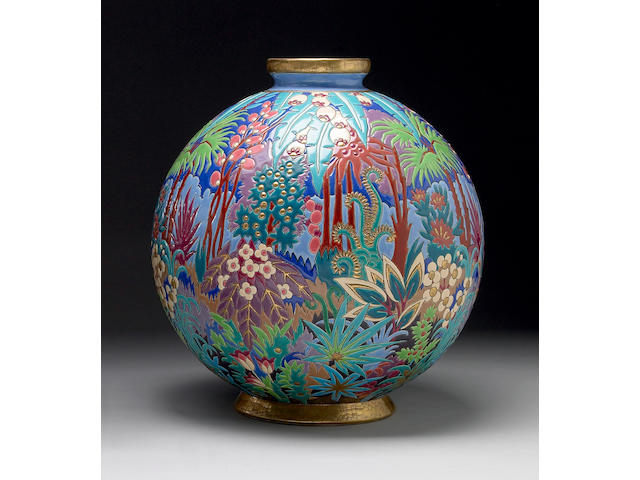A Longwy polychromed earthenware vase
