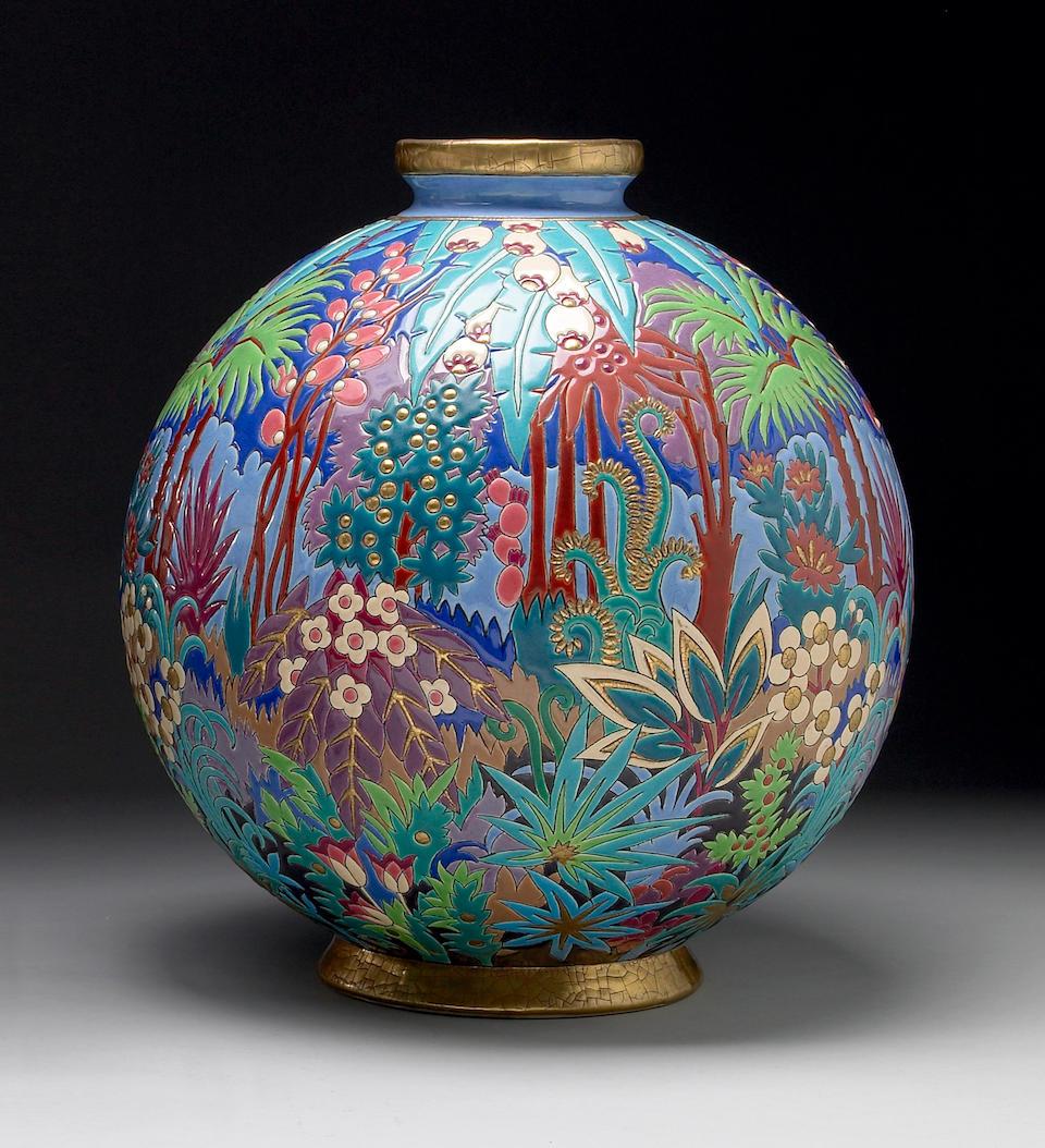 A Longwy polychromed earthenware vase