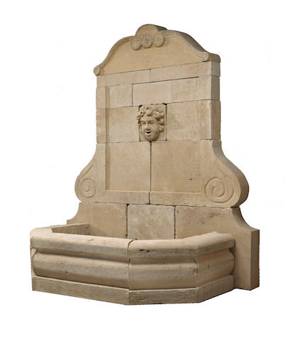 A small French limestone fountain