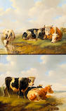 Albertus Verhoesen (Dutch 1806-1881) Cattle resting  11 x 13 1/4in (28 x 33.6cm)