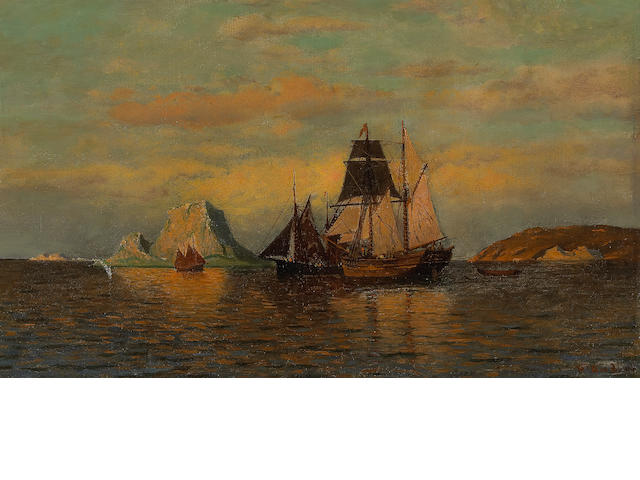 William Bradford (1823-1892) Sailing Ships 12 x 20in