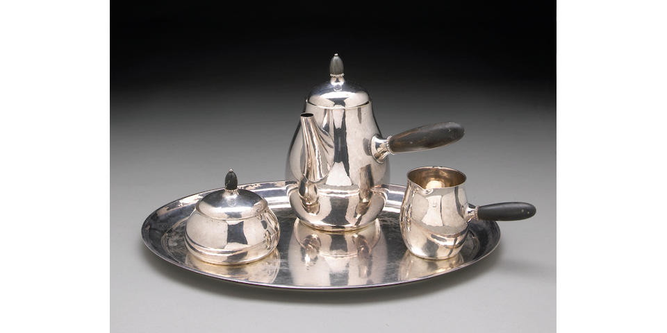 Danish Sterling Three-Piece Coffee Set with Ebony Fittings and Complementary Tray by Jensen