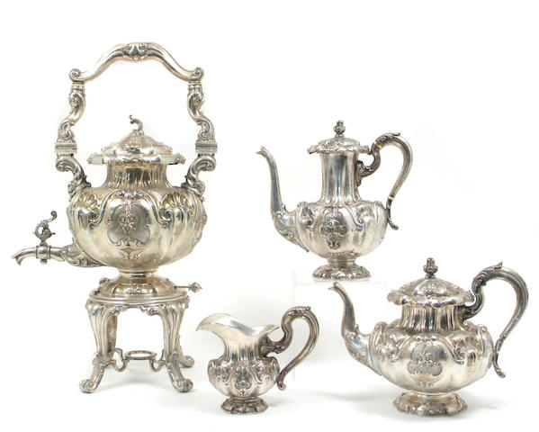 Italian Silver Four Piece Partial Tea and Coffee Set After the Antique