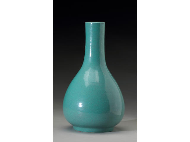 A robin's egg blue vase, drilled