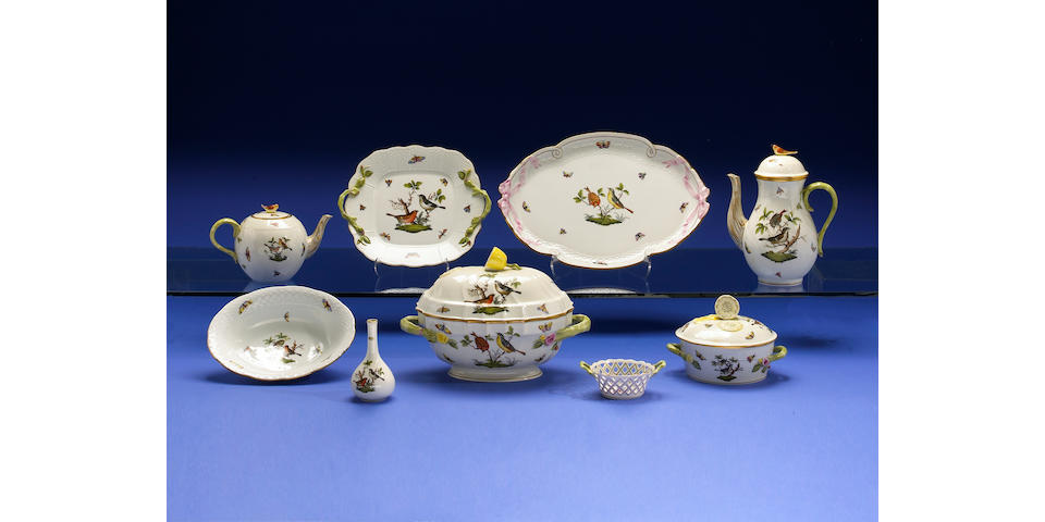 A Herend ware set of serving dishes and table articles