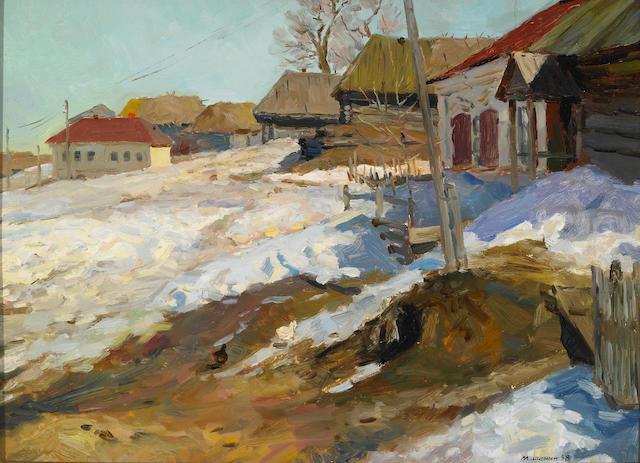 Marat Semyonovich Shanin (Russian, B. 1928) Outskirts of a Mordovian Village 14 x 19in