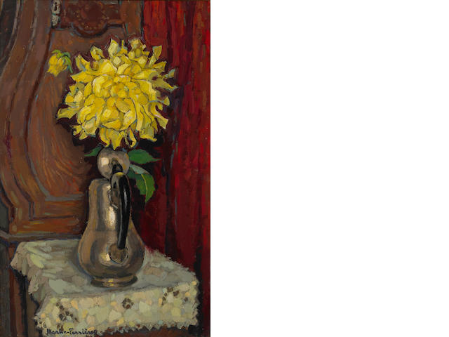 Jacque Martin-Ferrieres, Les Grois Dahlias, o/c. *****for evaluation by dept*********