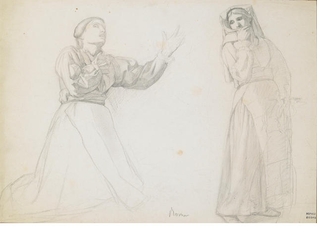 Edgar Degas Les Deux Italiennes pencil on paper inscribed Rome and stamped Nepvue Degas
