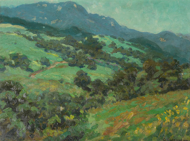 Granville Redmond (1871-1935)  Rolling California Foothills 12 x 16in