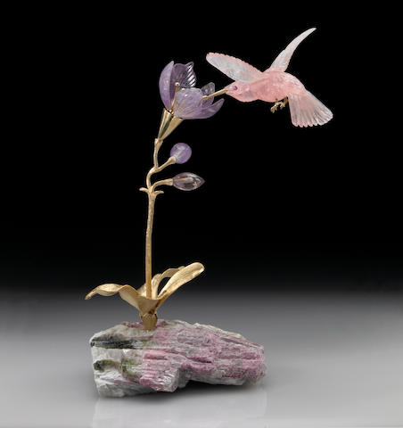 Rose Quartz Carving of a Hummingbird