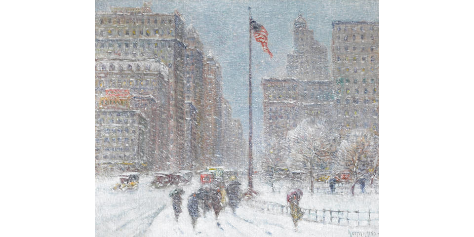 Guy Carleton Wiggins (1883-1962) Fifth Avenue and Madison Square Winter, 1927 25 x 30in