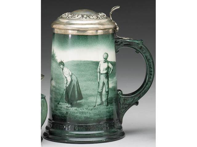 A porcelain Lenox beer stein with silver lid, circa 1900,