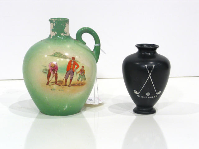 A small black painted Shelley vase with 'Gleneagles' in white lettering on one side,