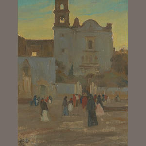 Maynard Dixon (1875-1946) Early Mass at San Juan de Dios, Guadelajara, 1905 10 1/4 x 8 1/2in