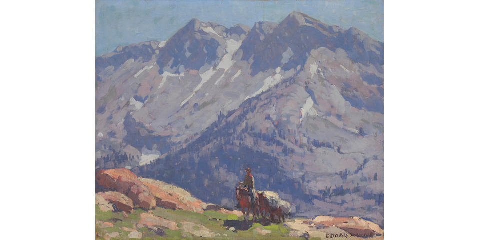 Edgar Payne (1883-1947) A Rider with Packhorses in the Sierras; A Sierra Lake (double-sided) 25 x 30in