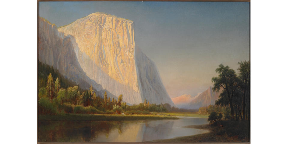 Gilbert Munger (1837-1903) A Small Encampment, El Capitan, in Yosemite Valley 24 x 36in