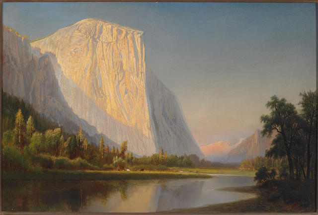 Gilbert Munger (1837-1903) A Small Encampment, El Capitan, in Yosemite Valley 24 x 36in