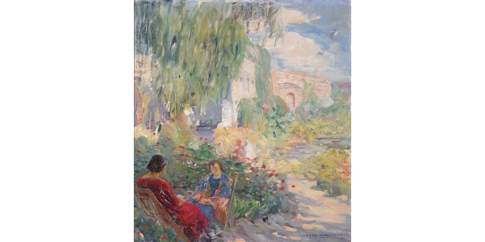 Joseph Kleitsch (1885-1931) A Conversation in a Mission Garden, 1924 20 x 18in