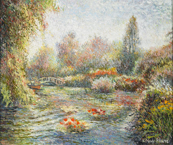 Claude Hughes Pissarro (French, b.1935) Giverny 19 x 22in (48 x 56cm)