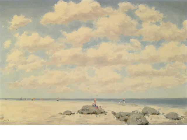 Andre Gisson (American, 20th Century) Beach scene with figures 24 x 36in (61 x 92cm)