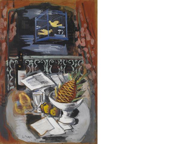 Ismael González de la Serna (Spanish 1898-1968) Les oiseaux avec nature morte, 1929 33½ x 22½in (85 x 57cm)