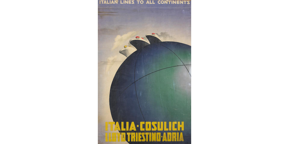 A.M Cassandre; Italian Lines To All Continents;