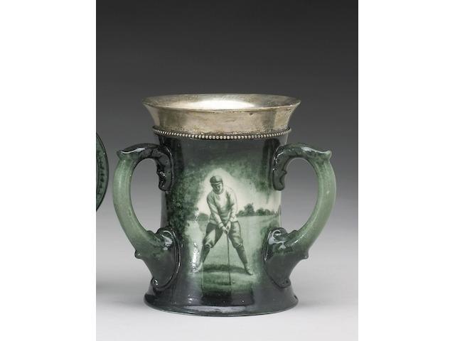 A Lenox porcelain three-handled toasting mug, circa 1898,
