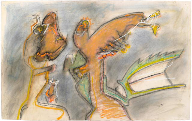 Roberto Matta Don Jesuista Hijo pastel on paper with letter of authentication and catalog
