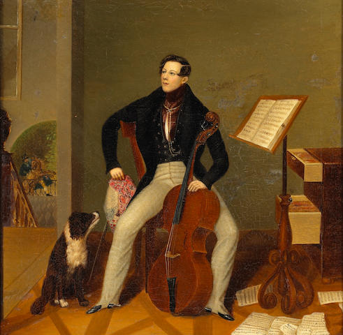 English School (mid-19th century) A portrait of a gentleman in an interior holding a cello 15 1/2 x 16in (39.3 x 40.7cm)