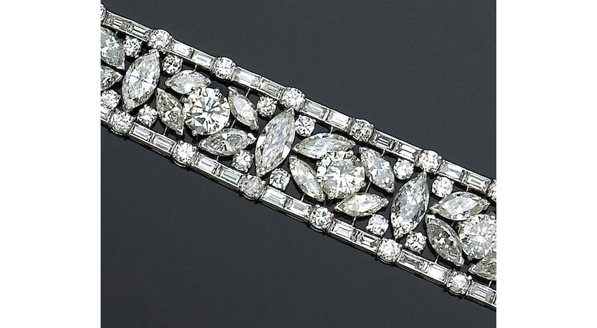 A diamond and platinum bracelet