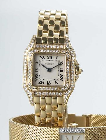 Cartier. A Lady's 18k gold and diamond set quartz bracelet watchPanthere, Ref.1280, recent