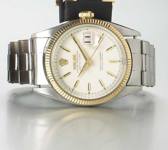 Rolex. A steel and gold self-winding wristwatch with date on steel bracelet Oyster Perpetual Datejust, Ref.6605, circa 1956