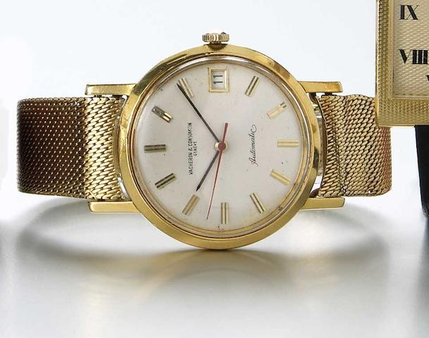 Vacheron & Constantin. An 18k gold self-winding wristwatch with date on braceletRef.6594, Case No.402117, Movement No.554748, circa 1964