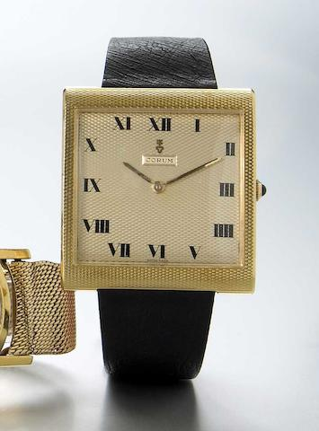 Corum. An unusual 18k gold oversize rectangular wristwatch Buckingham, Ref.91917, 1970s