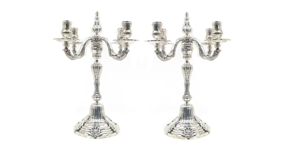 Mexican Sterling Suite of Three Candelabras After the Antique by Tane