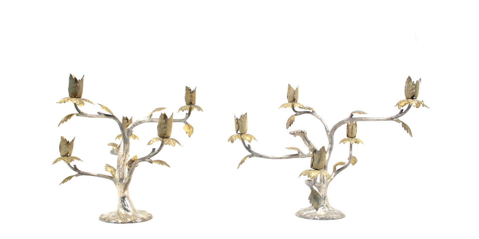 Mexican Parcel-Gilt Sterling Pair of Five Light Candelabra by Tane
