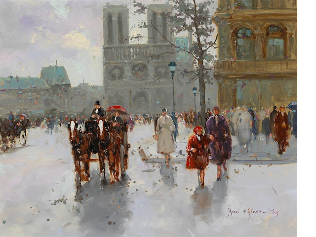 André Gisson (American 20th Century) A View of Notre Dame 16 x 20in (40.6 x 50.8cm)