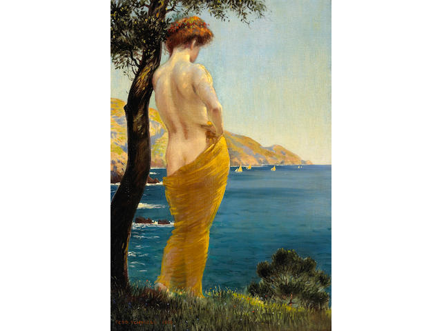 Ferdinand Schmoll (German 20th century) A woman by a shore, 1912 25 1/2 x 17 1/2in