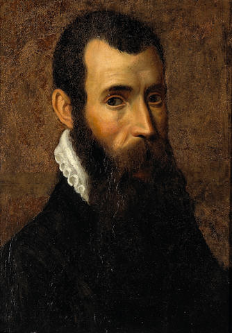 Bergamese School (late 16th century) A portrait of a bearded man with a white ruff 18 1/2 x 13 1/2in (47 x 34.5cm)