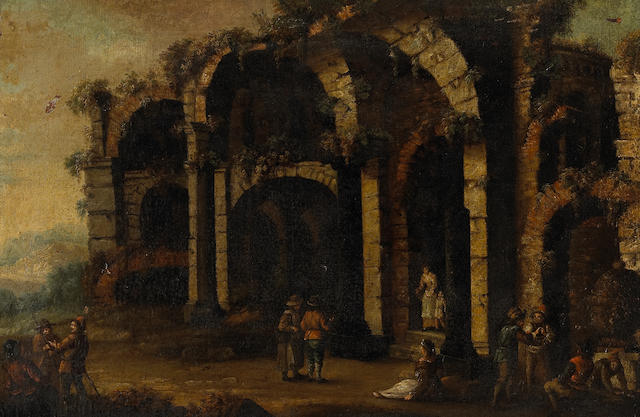 Italian School (18th century) Numerous figures outside a ruin  17 1/2 x 26 1/4in (44.5 x 67cm)
