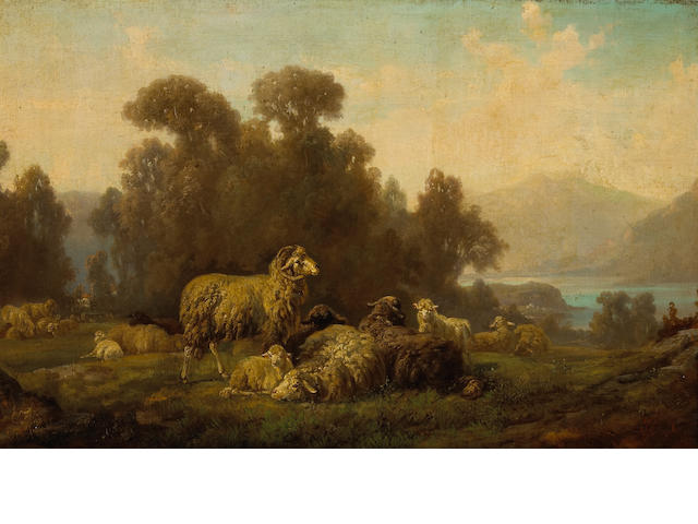 Filippo Palizzi (Italian 1818-1899) A flock of sheep in an extensive landscape  18 x 31 1/2in (45.8 x 80cm)