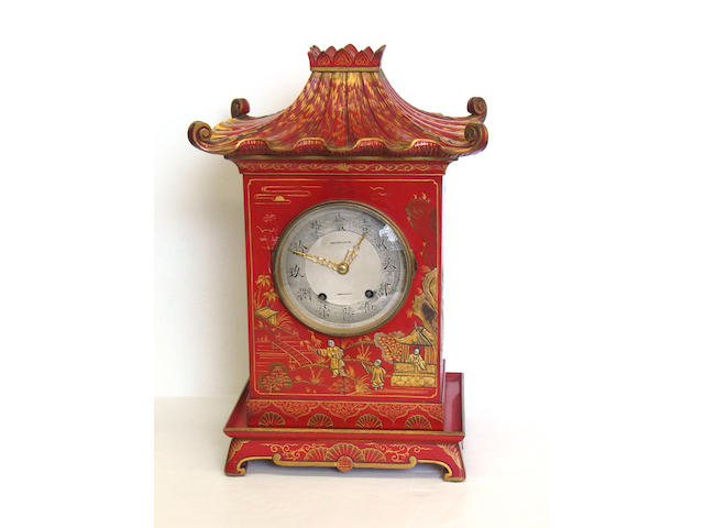 A Georgian style red Japanned chinoiserie motif bracket clock, Early 20th century, inscribed on dial: Lausanne, with French movement
