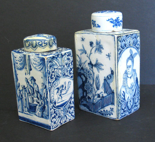 Two Dutch Delft blue and white tea canisters, 18th century
