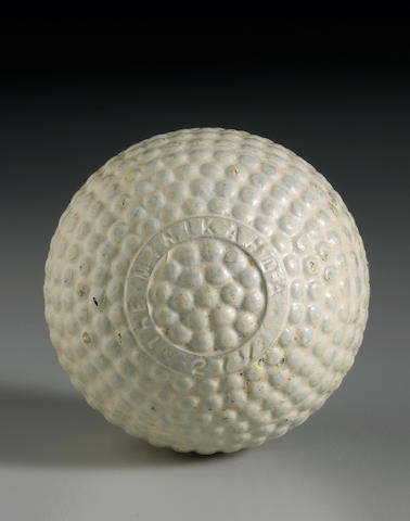 An unlisted extremely rare 'The Minikahda 27 1/2' bramble patterned gutty golf ball, circa 1898,