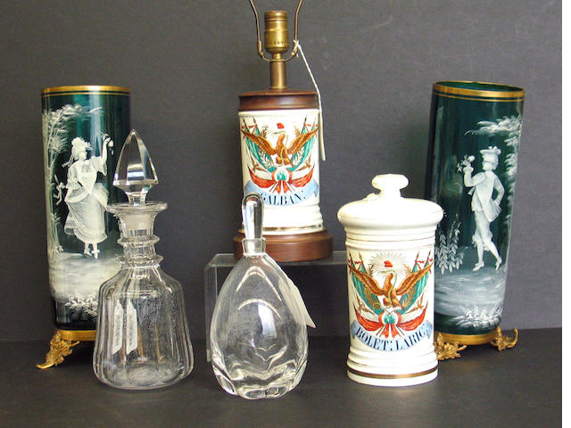 An assembled group of glass and porcelain